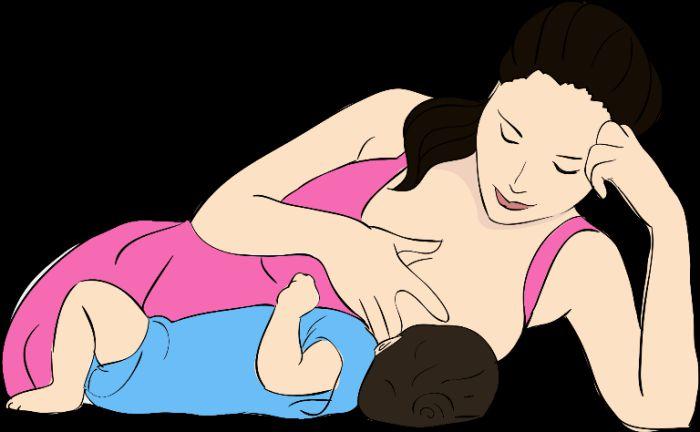 mẹ nằm cho bé bú